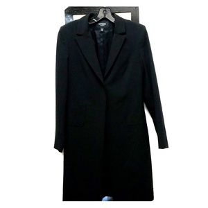 Long black stretch women's overcoat.